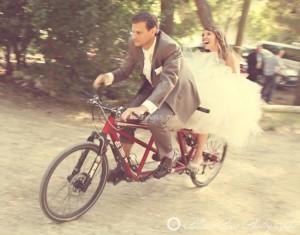 Photo originale sur un vélo